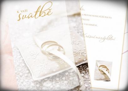 Klasická svatební přání se zlatou ražbou a fotografiemi
