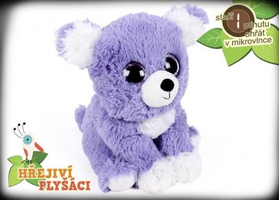 Plyšová hřejivá zvířátka od ALBI - fialové štěňátko