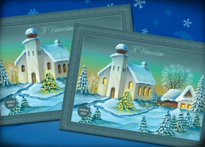 Pokojná vánoční krajina s rozsvíceným kostelem