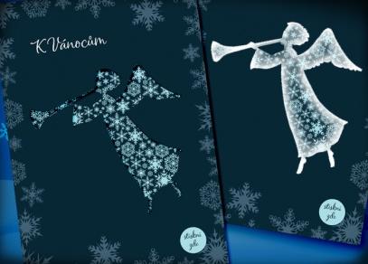 Rozzářený anděl přeje krásné vánoční svátky