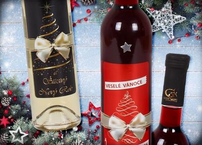 Polosladké červené víno Christmas 7 cuvee a bílé víno Irsai Oliver se zlatem