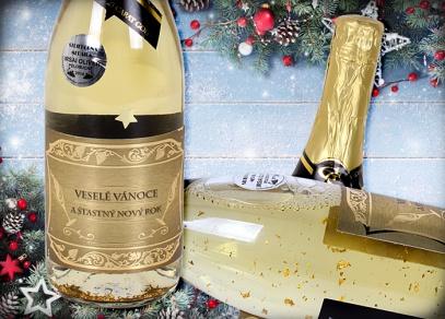 Šumivé bílé polosuché víno Irsai Oliver s 23 karátovým zlatem