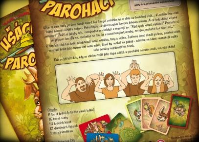 Co vše najdete ve hře Ušáci a paroháči? Karty hráčů, karty cest, 111 hracích karet atd.