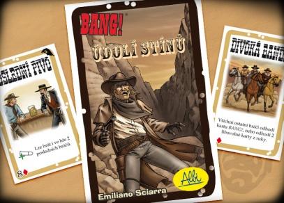 20 nových karet - 5 zcela nových postav a 15 akčních karet v rozšíření hry Bang! Údolí stínů