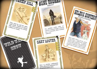 18 nových karet rozšiřujících základní Bang! - 10 karet Divoký západ a 8 karet postav