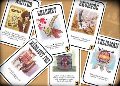 Nové akční karty a karty vybavení v rozšíření hry Bang! Zlatá horečka (celkem 24 karet vybavení) + 30 zlatých valounů