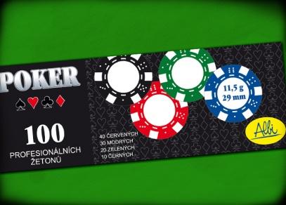 Horní strana krabice se 100 žetony pro poker