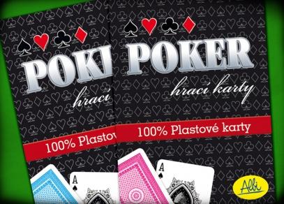 100% plastové karty na poker v modré a červené barvě