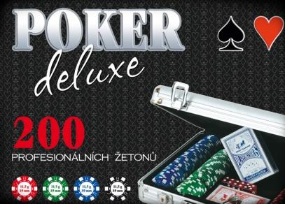 Vše potřebné pro uspořádání pokerového turnaje - 200 žetonů, 2 sady karet, 5 hracích kostek - Poker deluxe