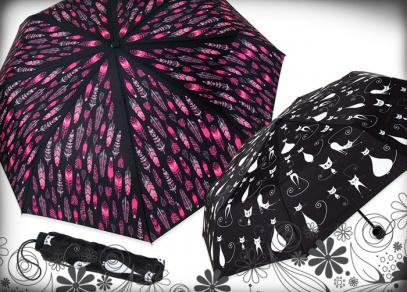 Praktické skládací deštníky se zpevněnou konstrukcí