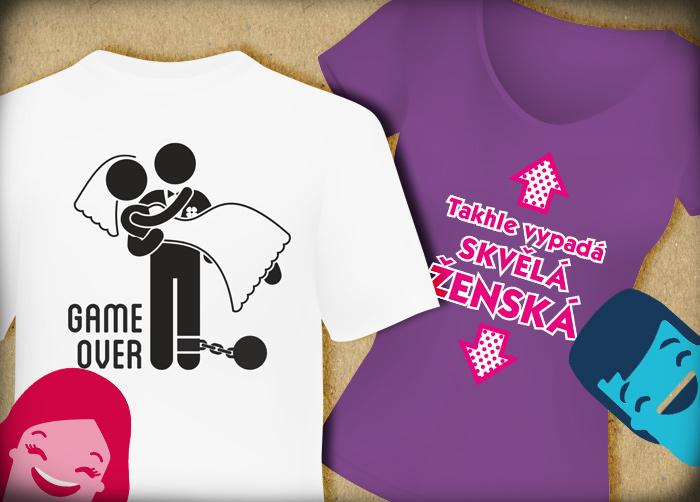 9e3cb247c08 Humorná trička s potiskem od ALBI Skvělý dárek pro muže... ...ženy či  novomanžele!
