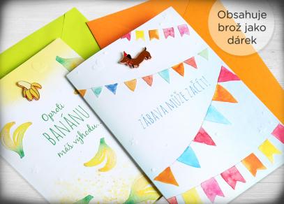 Součástí přání jsou vesele barevné obálky
