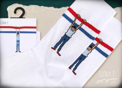 Světlé ponožky s designem Elišky Podzimkové