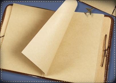 Zažloutlý papír na nelinkovaných stranách bloku
