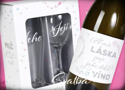Svatební set sklenic a kabinetní muškátové víno