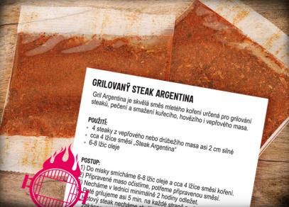Balení obsahuje dva sáčky koření a recept na steak Argentina
