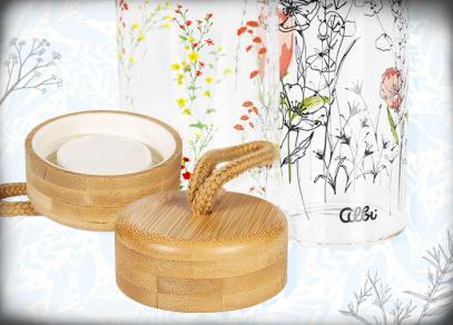 Elegantní bambusové víčko s poutkem