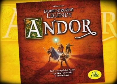 Titulní strana krabice strategické hry Andor, ve které se snažíte zachránit svou zem před nepřáteli