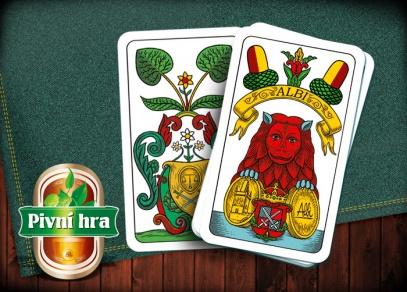 Klasické jednohlavé mariášové karty jsou součástí Pivní hry