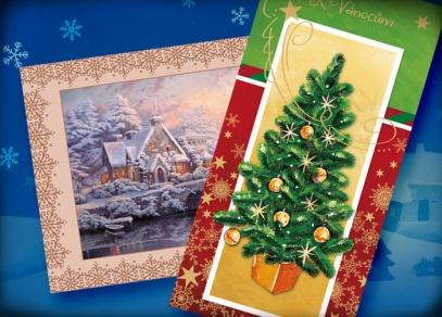 Vánoční přáníčka s tradičními motivy a perleťovou nebo zlatou ražbou