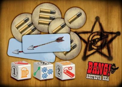 Součástí hry je pět kostek, žetony s životy a žetony s šípy...