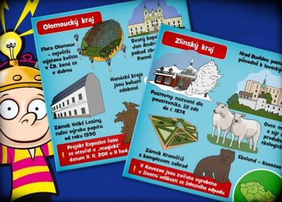 71 ilustrovaných karet o krajích Čech, Moravy a Slezska