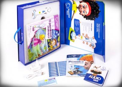 Krabice obsahuje krom knihy a tužky také Audio blok, průvodce Kouzelným čtením s dvojstranami z dalších knih, samolepky s MP3 přehrávačem a ovládáním zvuku...
