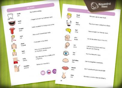 Kniha je namluvena rodilými mluvčími - každé slovíčko má svůj obrázek i větu s příkladem použití...