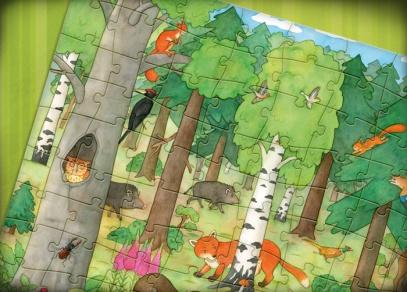 Detail ilustrace Lenky Vybíralové - puzzle Náš les od ALBI