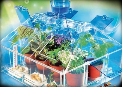 Kompletní sada pro pěstování rostlinek včetně zavlažovacího systému - Skleník