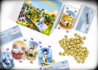 Hra obsahuje 30 karet nemovitostí a 30 karet šeků...