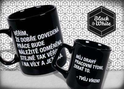 Hrnky a Megahrnky Black & White na každý pracovní stůl