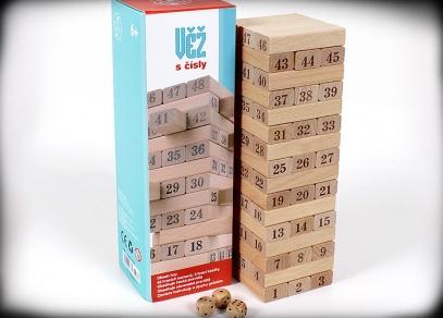 Věž s čísly - hrajte jako klasickou jengu, nebo nechejte kostku, ať vám určí, který kámen vytáhnout...