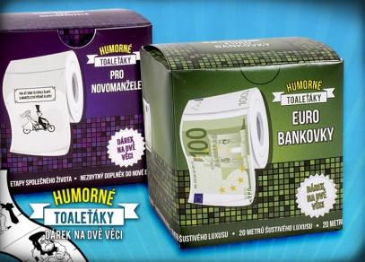 Tématické toaleťáky s Euro bankovkami nebo svatebním motivem