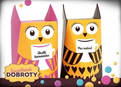 Sovičkové krabičky obsahují mléčnou čokoládu či ovocný čaj s věnováním