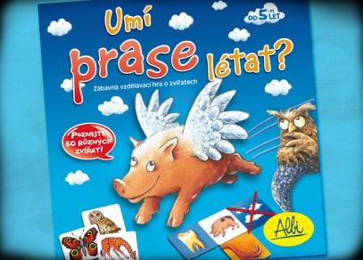 Titulní strana dětské hry Umí prase létat?