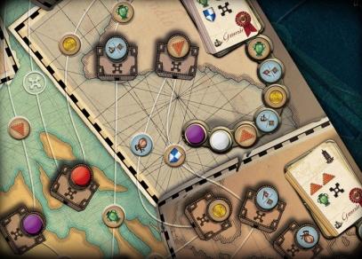 Detail rozehrané hry Mořeplavci