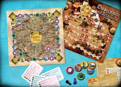 Oboustranný herní plán Zlatého Česka obsahuje i dobyvatelskou verzi hry...