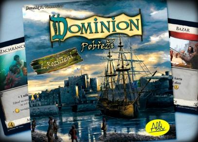 Titulní strana prvního rozšíření hry Dominion - Pobřeží