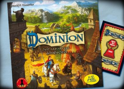 Titulní strana hry Dominion - hra roku 2009 v Německu