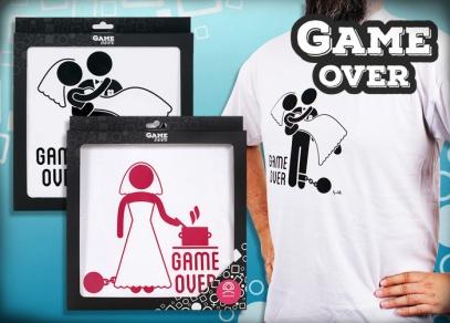 Humorná trička s motivem Game Over pro nevěstu a ženicha