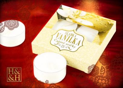 Čtyři čajové svíčky s vůní vanilky