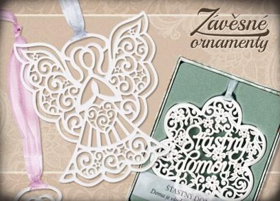Ornament můžete zavěsit pomocí barevné látkové stužky
